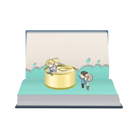 Kids around a can of tuna on open book Vector