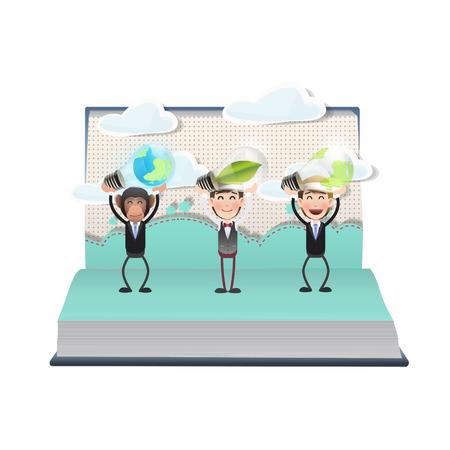 ecologic: La gente de negocios la celebraci�n de bombillas ecol�gicas en el libro abierto Vectores