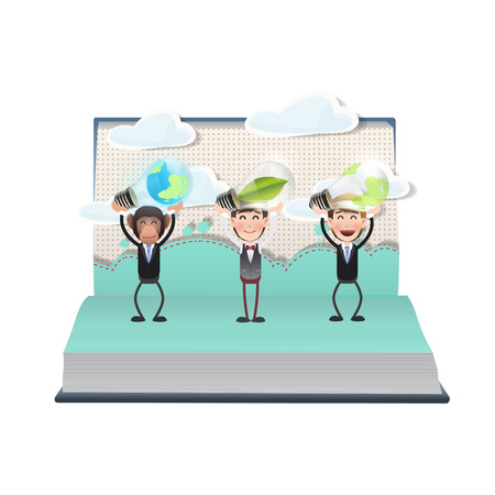 Business people holding ecologic bulbs on open book