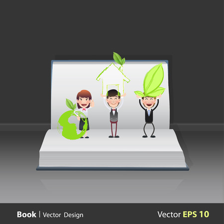 Business people holding ecological icons on open book Vector