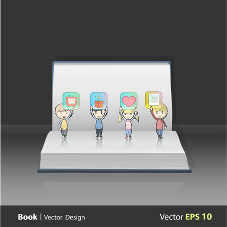 Kids holding badges on open book Vector