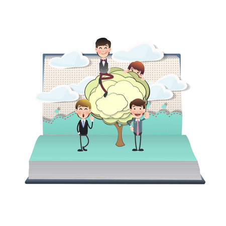 Business people with tree on open book Vector