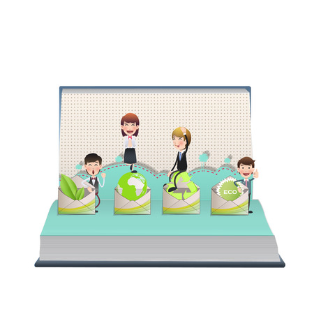 Business people holding an ecological icon on open book Vector