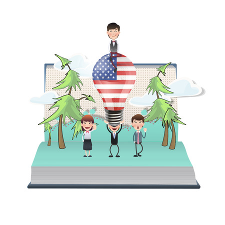 Business people with USA bulb on open book Vector