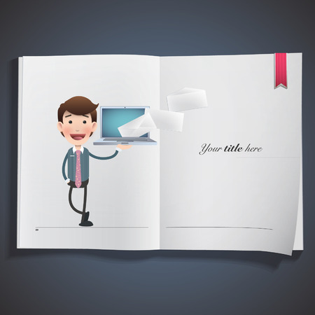 Businessman with laptop printed on book Vector