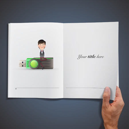 microdrive: Business people with pendrive printed on book