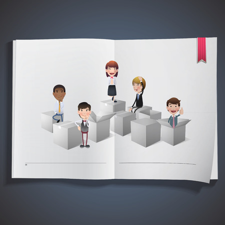 white boxes: Business people with white boxes printed on book