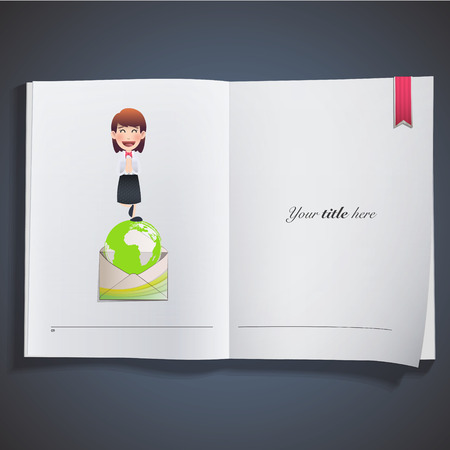 Business people with ecological icons printed on book Vector