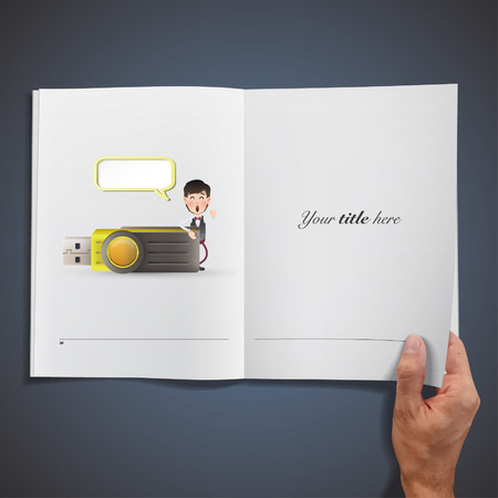 Business people with pendrive printed on book Vector