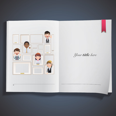Business people inside frame printed on book Vector