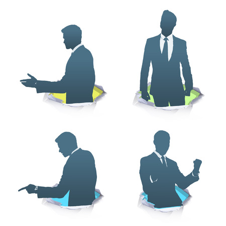 Set of silhouette of businessman.  Vector