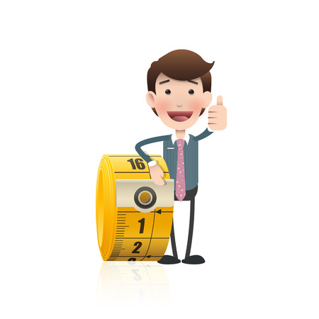 Business people with tape measure.  Vector