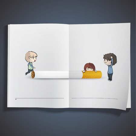 childhood cancer: Kids with cigarette printed on book