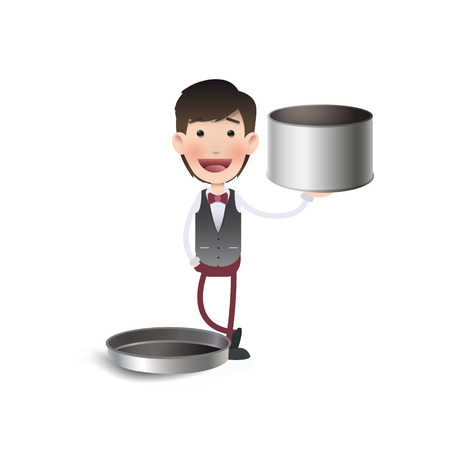 Businessman with steel box.  Vector