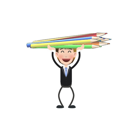 Businessman with crayons over white.  Vector