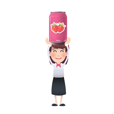 tin of strawberry juice.  Vector