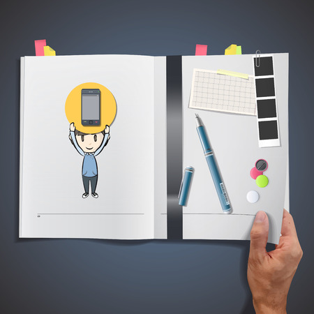 Kid holding icon web printed on book. Vector