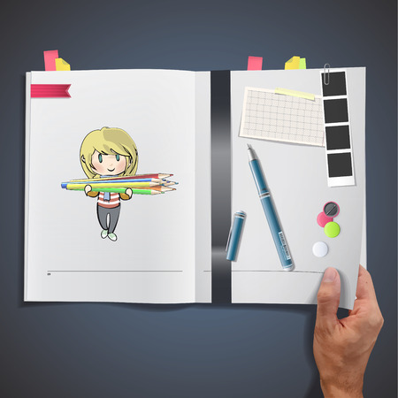 Kids with crayons printed on book Vector