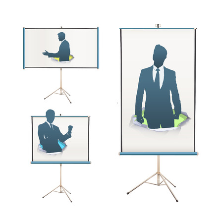 Set of projector screen with silhouette of businessmen Vector