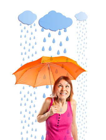 Girl holding an umbrella under the rain photo