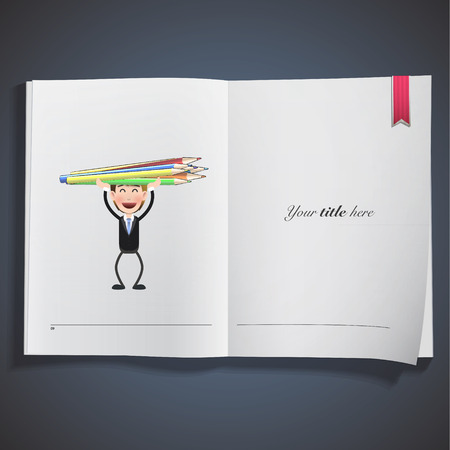 Businessman with crayons printed on book Vector