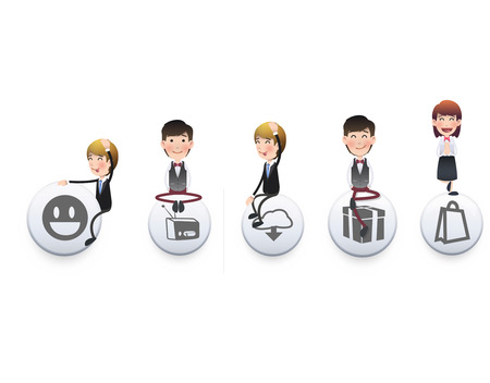 Business people with badges over white background. Vector design.  Vector