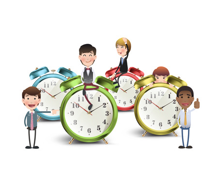 Business people with vintage clocks over white background  Vector