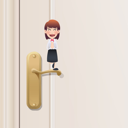 Business woman with door over white background  Vector
