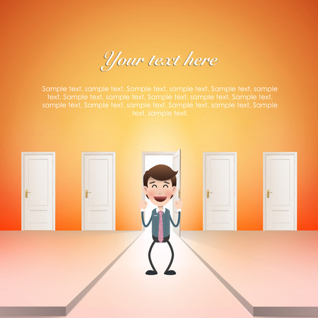 Businessman with door over white background  Vector