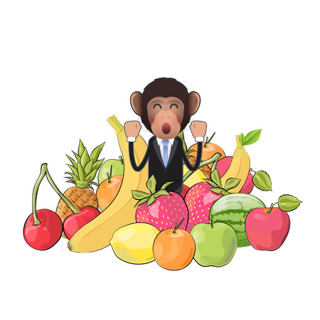 Business monkey with fruits isolated over white background. Vector design.  Vector