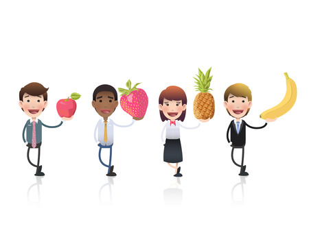Business people with fruits isolated over white background. Vector design.  Vector