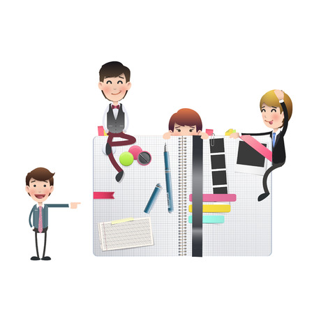 Business people with notebook over white background. Vector design. Vector