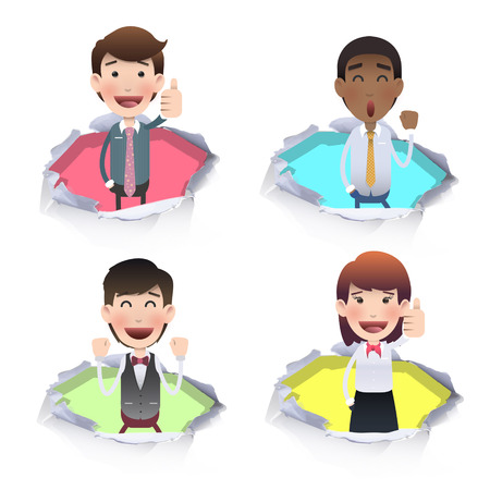 Business people inside hole paper. Vector design.  Vector