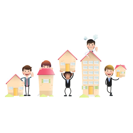 Business people with house over isolated white background  Vector