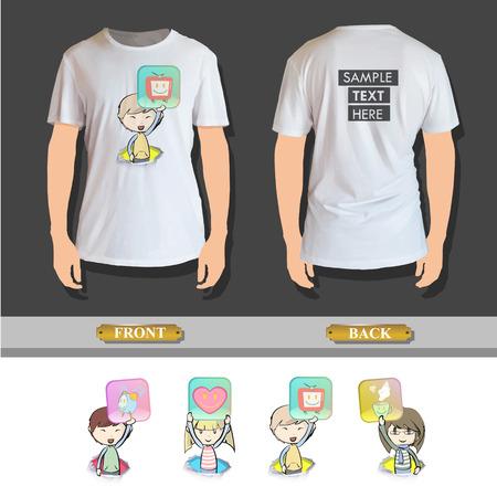 hand holding playing card: Kid holding badges printed on shirt