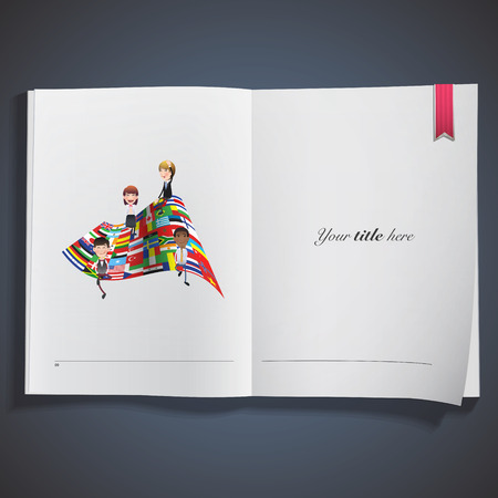 Business people with big flag printed on book Vector