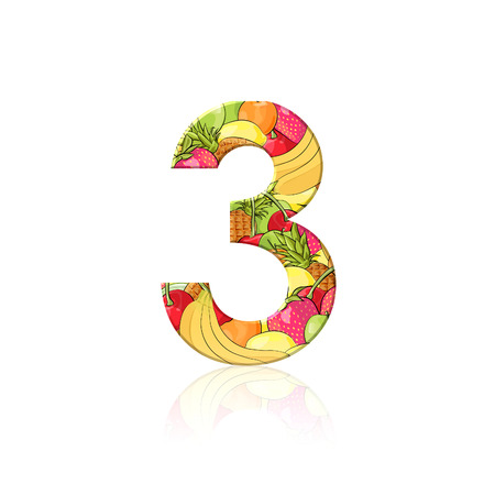 Number 3 with fruit effect over white background photo