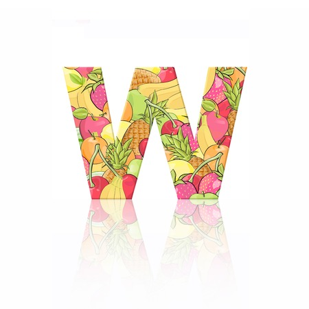 Letter W with fruit effect over white background photo