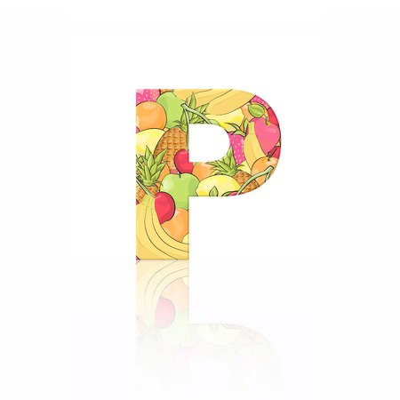 Letter P with fruit effect over white background photo