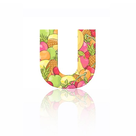 Letter U with fruit effect over white background photo