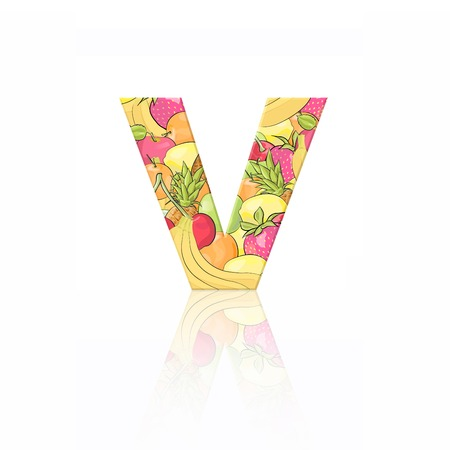 Letter V with fruit effect over white background photo