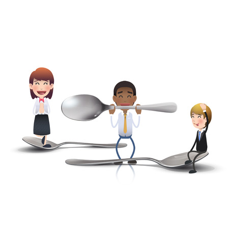 Business people with knife, fork and spoon. Vector design.  Vector