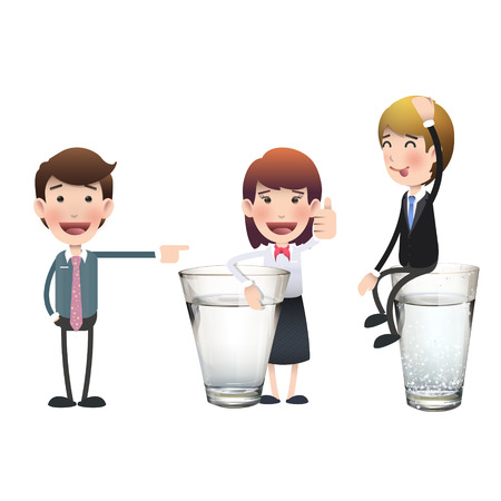 Business people with water glass over white background. Vector design.  Vector