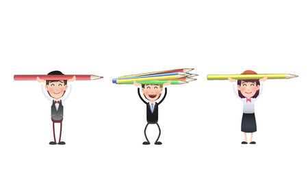 business people with crayons. vector design Vector