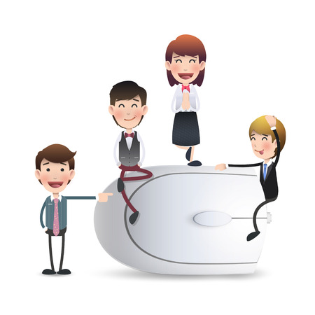 Business people with computer mouse. Vector design.