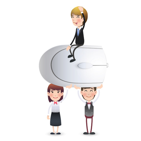 small business woman: Business people with computer mouse. Vector design.
