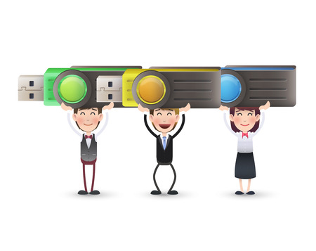 microdrive: business people with pendrive over isolated white background