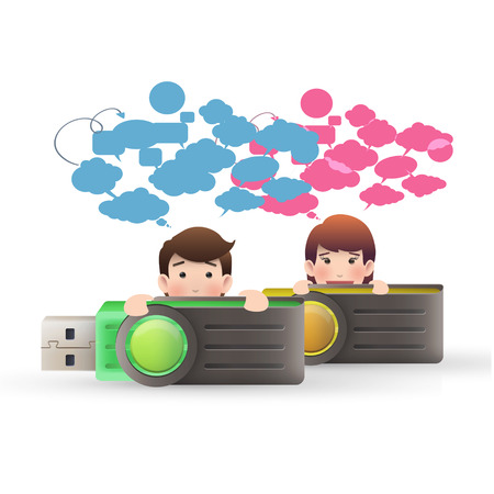 business people with pendrive over isolated white background Vector