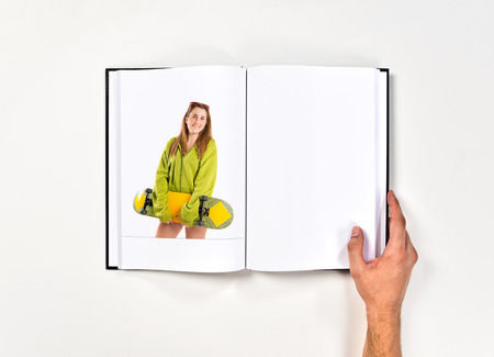 Skater with green sweatshirt printed on book photo