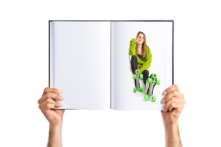 rollerblade: Blonde girl with rollerblade printed on book